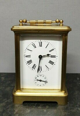French 8 Day Brass Carriage Alarm Clock.