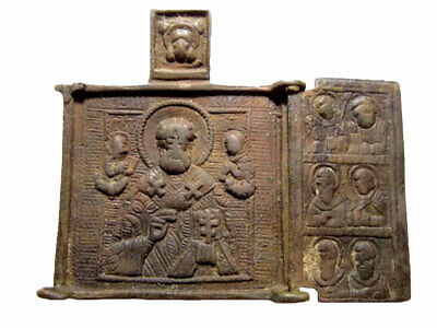 Rare, Genuine Antique  Folding Russian Brass Travel St. Nicolas Icon Tryptich+++