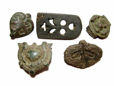 LOT of 5 pcs. BRONZE CELTIC and ROMAN BELT MOUNT DECORATIONS, BROAD VARIETY+++