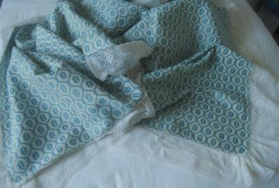 Nwot European Country Vintage Queen Bedspread Blue & White Weave Lace Edging