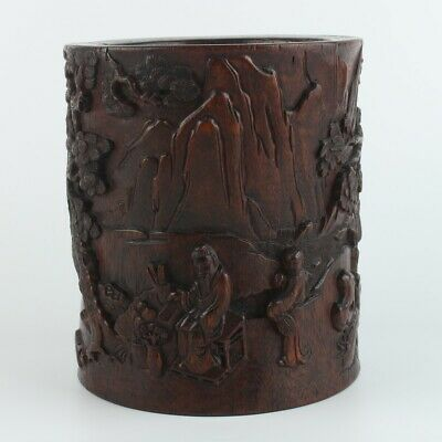 Antique Chinese Collection Agarwood Brush Pot / carved tree and figures