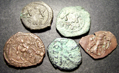 5 Byzantine Follis Coins Lot, 6th-9th Cent AD, 17-26mm