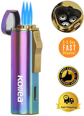 Powerful and Windproof Triple Jet Torch Triple Butane Lighter Refillable Gift