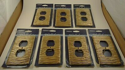 7 Vintage InterDesign Outlet Plate Wall Plate Gold Stripes Lot