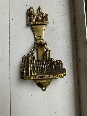 Vintage Antique Canterbury Cathedral Heavy Brass Door Knocker