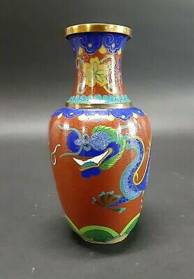 Antique Chinese Cloisonne Vase Dragon Qing Dynasty