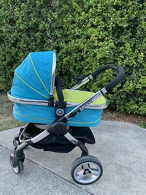 iCandy Peach pram stroller with carry cot & stroller seat Lime Green and Teal
