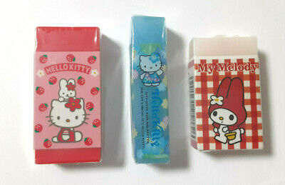 Hello kitty My Melody Eraser 3 pieces SANRIO 1997' Cute Goods Rare Girls Station