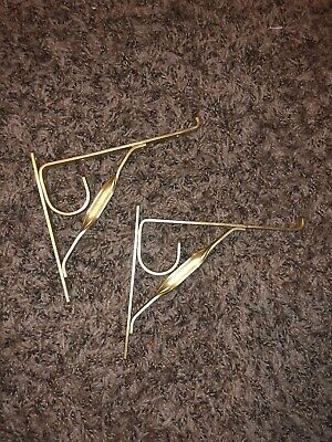 """Small Vintage 6"""" Inch Gold Colored Shelf Brackets"""