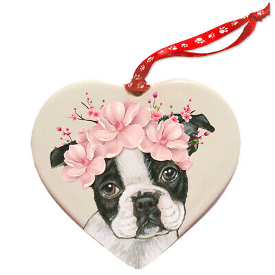 Boston Terrier Dog Porcelain Floral Heart Shaped Ornament Décor Pet Gift