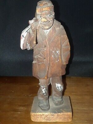 "Vintage Hand Carved Wood Statue, Man Carrying bag 6"" Tall"