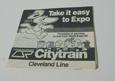 Expo Oz Train Time Table From 1988 Qld Queensland Railways Cleveland Line