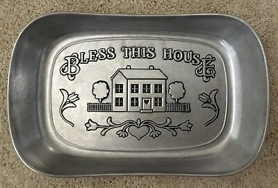 Vtg Wilton Armetale Bless This House Hand Crafted Pewter Serving Dish Tray