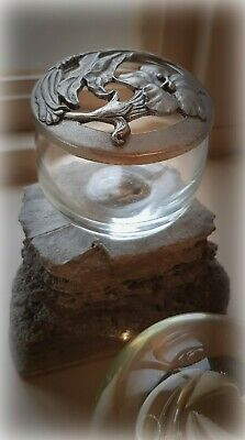 Attractive Art Nouveau Style Pewter Lid Glass Pot Flower Stem Design