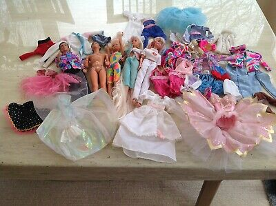 Barbie, Sindy, Paul, Ken dolls and a quantity of clothing. Used good condition.