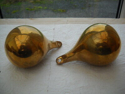A Good Pair Of Brass Pear Shaped Weights For A Dutch Wall Clock.