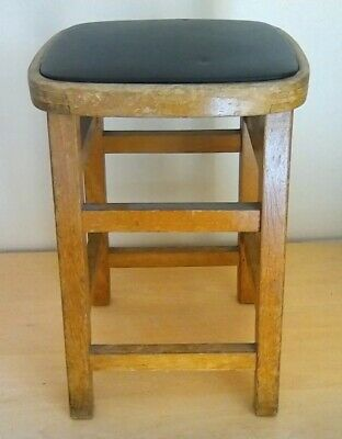 Vintage retro solid wood bar stool black leather/ plastic Seat 19.5 ins tall