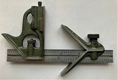 Vintage Mitutoyo Machinist 6 Inch Rule Combination Square & Center Head Hardened