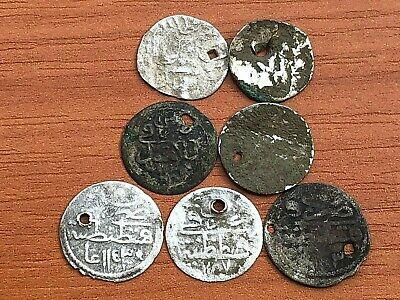 Lot of 7 Authentic Ottoman Islamic Silver Coins 1 para Different Sultans.