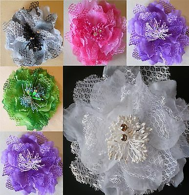 Wedding/Prom/Bridesmaids Layered Lace Flower Elastic & brooch pin Corsage