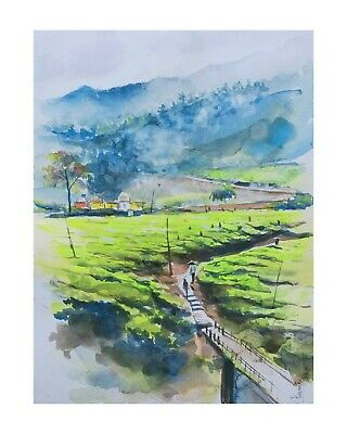Munnar tea mountains watercolour painting on paper signed direct from artist