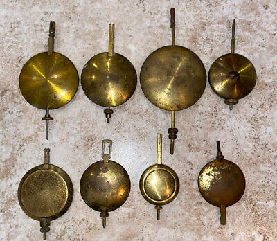 Lot Of 8 Early Antique Brass Clock Pendulums **Must See!**
