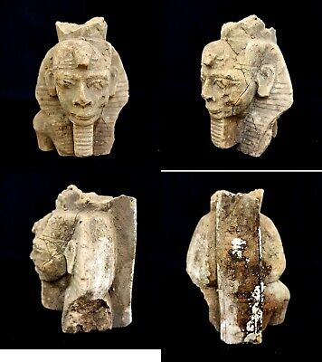 Egyptian King Pharaoh Statue Bust Mask Figurine Ancient Egypt Sculpture Antiques