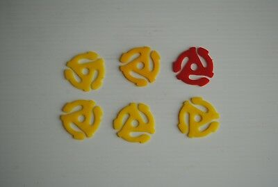 """6 Plastic 45 RPM 7"""" Easy Snap-In Vinyl Record Inserts Spindle Adapters"""