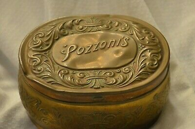 Antique Pozzoni's face powder box with hinged lid