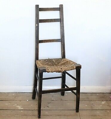 Unusual Antique Vintage Arts And Crafts Wooden Ladderback Dining Chair Rush Seat