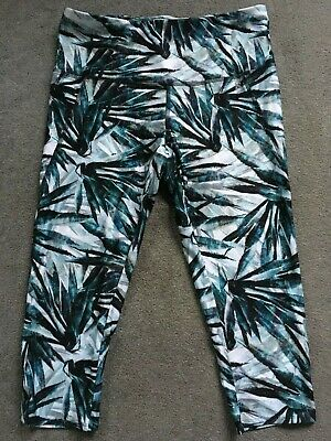 NEXT Size 12 BNWT Patterned Cropped Gym Leggings Green White Patterned