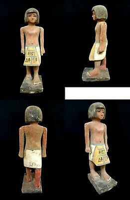 Statue Wood Egyptian Ancient Egypt Antique King Pharaoh Sculpture hieroglyphic