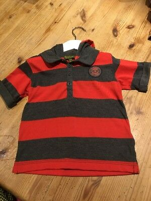 Ted Baker Lovely Boys Red & Grey Striped Top With Hood Age 12-18 Months