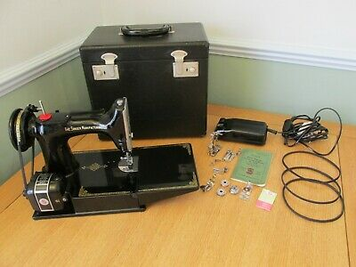 Singer Sewing Machine 221K Featherweight with S1 Motor  Retro 1950's