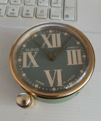 Vintage Mechanical Alarm Clock ON A STAND Slava 11 Jewels Russia USSR, Yes WORK