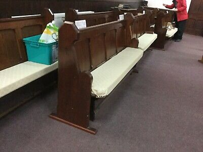 pitch pine vintage church pew in very good condition they are freestanding