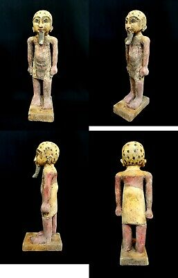 Ancient Egyptian Priest wooden statue Antiques Mummy History hieroglyphic 22 CM