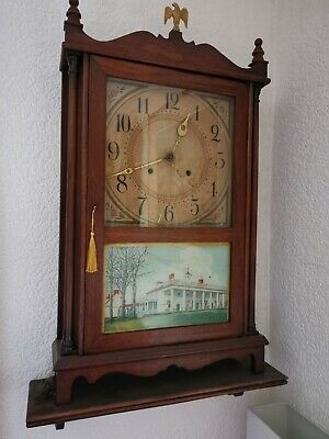 Antique Pillar And Scroll   8day American Wall Clock... By Gilbert with shelf