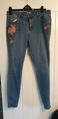 Sainsburys Tu Women Embroidered Floral Skinny Jeans Size 14