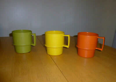3 Different Colored Tupperware # 1312 Stackable Coffee Mugs