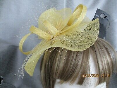 Ladies Lemon Yellow Fascinator New with Tags from M & S