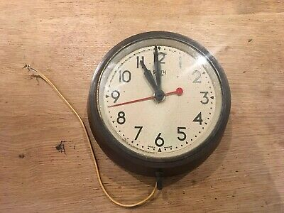 Vintage Smith Sectric Electric Wall Clock Bakelite Original Factory School