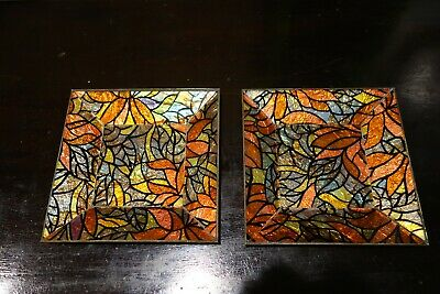 Square Vintage Signed Georges Briard Orange Leaves Glass Guild Mosaic Trays