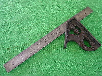 "Vintage Starrett No.4 = 12"" Combination Square 12 Inch Steel Rule Made in USA"