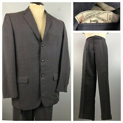 1950s Checked Suit / 50s Gray Flecked 3 Button Suit Skinny Lapels High Waist M/L