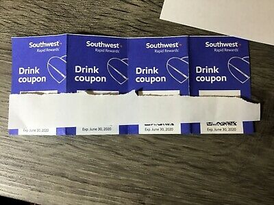 Four (4) SOUTHWEST Drink Coupons / EXPIRE 6/30/2020