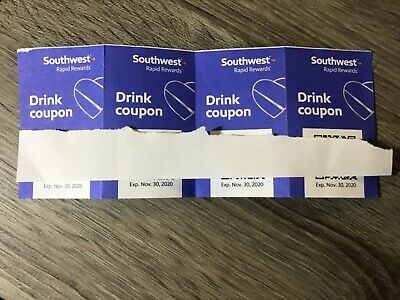 Four (4) SOUTHWEST Drink Coupons / EXPIRE 11/30/2020