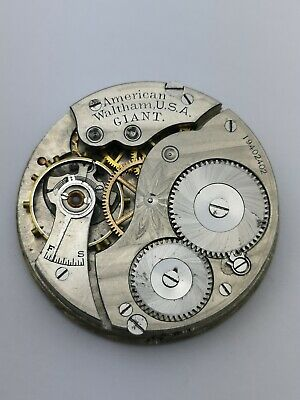 Rare Waltham 17s Equity Giant Working Pocket Watch Movement 8750 Made (AD35)