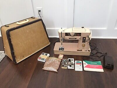Vintage Singer 401A Sewing Machine Slant O Matic 401 With Case