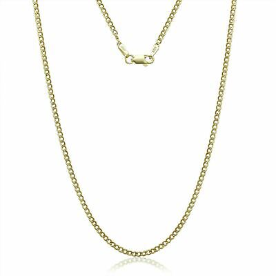 Solid 14K Yellow Gold 2mm Curb Chain Cuban Link Necklace 18''